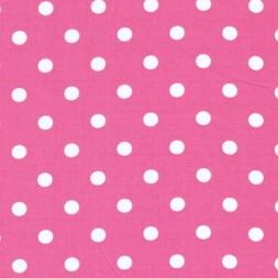 Bomulds-poplin m/hvide prikker, pink-20