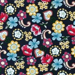 Bomulds-poplin m/blomster and hjerter, mørkeblå-20