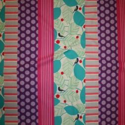 Bomuld/hør m/mønster-striber pink/turkis/lilla-20