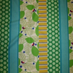 Bomuld/hør m/mønster-striber lime/turkis/græsgrøn-20