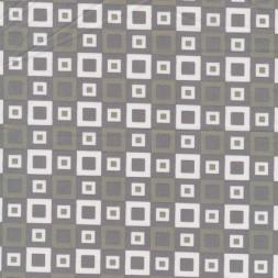 Bomulds-poplin m/firkanter grå/hvid-20