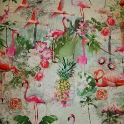 Bomuld m/digitalt print, flamingo/blomst-20