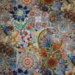Bomuld m/digitalt print, mosaic/sten/perler-20