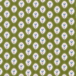 Bomuld m/oval blomster-mønster, oliven-20
