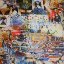Bomulds-voil mønstret blå/orange/hvid-20