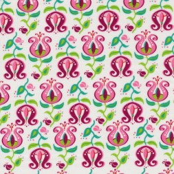 Bomuld m/tulipan hvid/lyserød/grøn-20