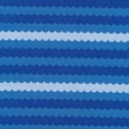 Bomuld m/bølger/striber, blå/lyseblå-20