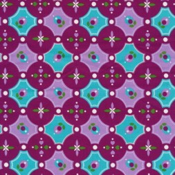 Bomuld m/cirkler/mønster cerisse/aqua/lyselilla-20