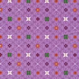 Bomuld m/mønster/blomst lyselilla-20