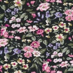 Bomuldspoplin m/blomster, sort/rosa/støvet grøn-20