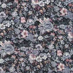 Bomuld blomstret sort/grå/pudder-rosa-20