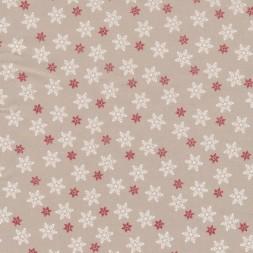 Bomuld m/snefnug, sand/hvid/rød-20