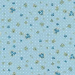 Bomuld m/blomst/prik, lys turkis-blå-20