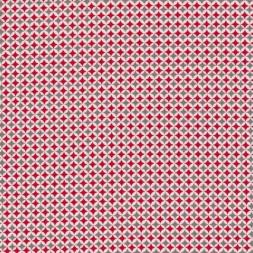 Bomuld m/lille mønster, hvid/rød/grå-20