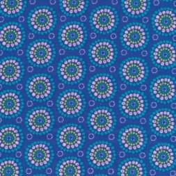Bomuld m/cirkel/blomst, klar blå-20