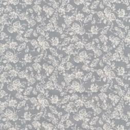 Bomuld m/roser lysegrå/hvid-20