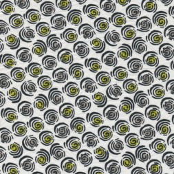 Rest Bomuld/polyester m/cirkel-mønster hvid/sort/lime-gul 35-44 cm-20