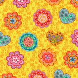 Bomuld m/blomster/hjerter, gul/orange/mint-20