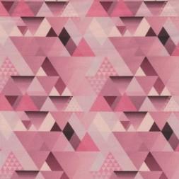 Bomuld m/trekant-mønster, rosa-20