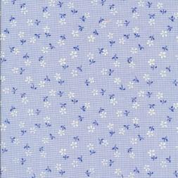 Ternet bomuld/polyester m/blomster, lyseblå-20
