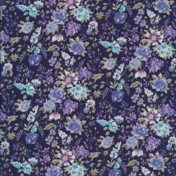 Bomulds-poplin med blomster mørkeblå/denim/lilla-20