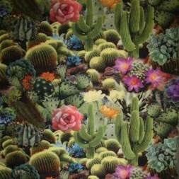 Fast bomuldsstof med kaktus i digitalt print