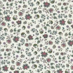 Stof i bomulds poplin med blomster print