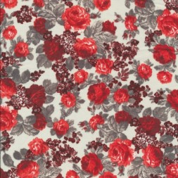 Let bomuld med blomster hvid rød grå-20