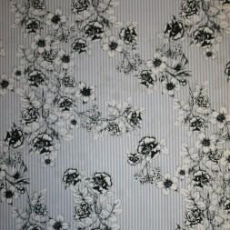 Bomuld stribet lyseblå og hvid med blomster-20