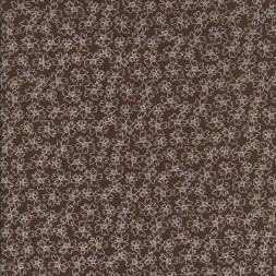 Bomulds-poplin med blomster, mørkebrun og hvid-20