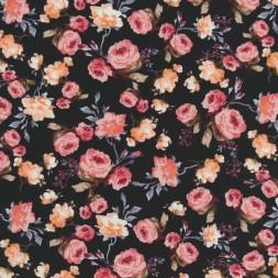 Bomulds poplin med roser, sort og rosa-20