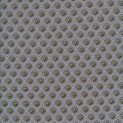 Bomuld med cirkler i grå, sort, lysegrå og gul.-20