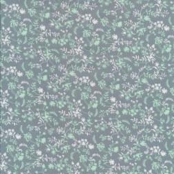 Bomuld med små blomster blade i grågrøn mint hvid-20