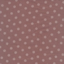 Bomulds poplin med cirkler i gl. rosa og hvid-20