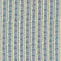 Bomulds poplin stribet og små-blomstret i offwhite støvet blå rosa-20