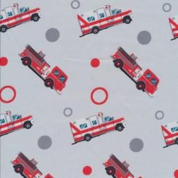 Bomuld med brandbil og ambulance i lysegrå-20