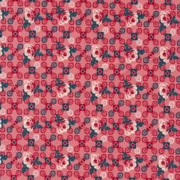 Bomuld med roser og firkanter i koral-rød-20