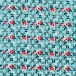 Bomuld med roser og firkanter i aqua-20