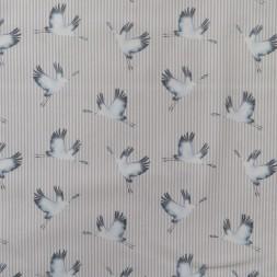 Bomuld stribet i lysegrå og hvid med trane-20