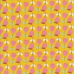 Bomulds-poplin carry-gul med lyserøde blomster-20