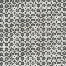 Bomuld med cirkel og blomst i grå og hvid.-20