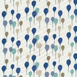 Bomuld med balloner i knækket hvid grøn blå sand-20
