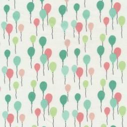 Bomuld med balloner i knækket hvid mint koral irgrøn-20