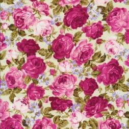 Bomuldspoplin med roser off-white/rosa/lyserød-20