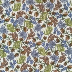 Bomuldspoplin med blade og blomster i hvid, lys lime, rødbrun og lyseblå-20