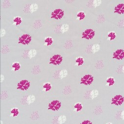 Bomuldspoplin med blomst/frøstand i lysegrå-20