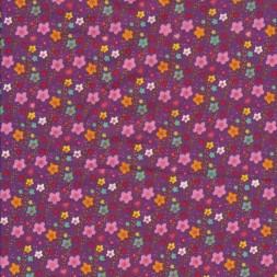 Bomuldspoplin med små blomster i lyng rosa gul-20