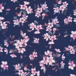 Bomuld med blomster støvet mørkeblå lyserød-20