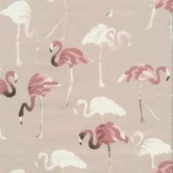 Bomuld i sand med flamingo i gammel rosa og hvid-20