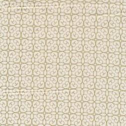 Fast stof i bomuld i offwhite med guld mønster-20